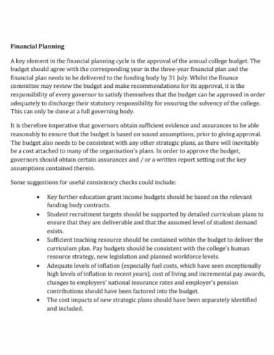 standard financial risk management plan