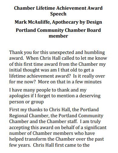 standard thank you speech for award