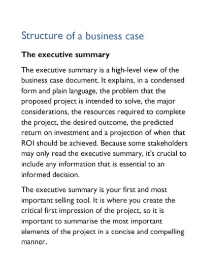 structured business case executive summary