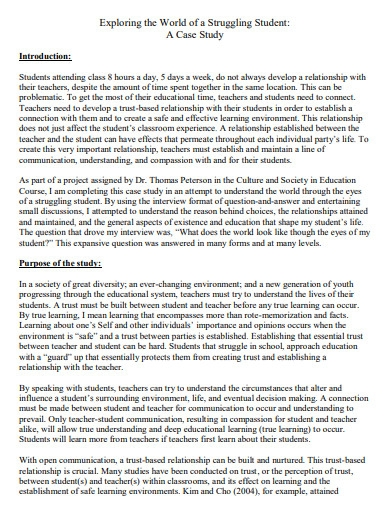 student case study template