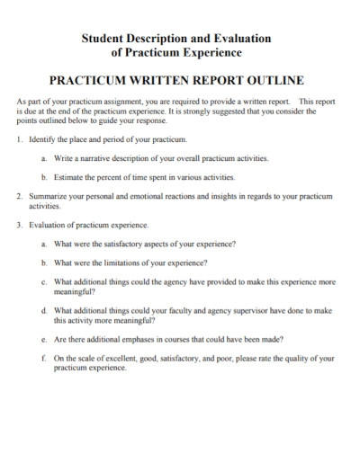 student evaluation report outline
