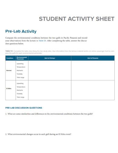 student pre lab activity sheet