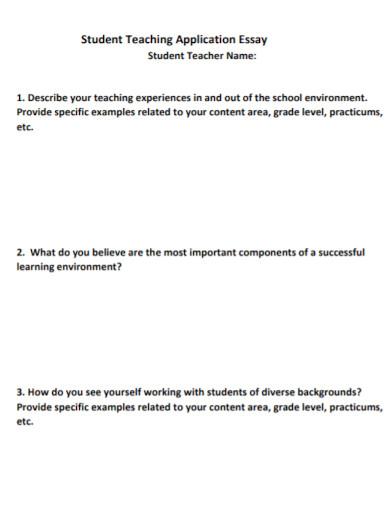 student teaching application essay
