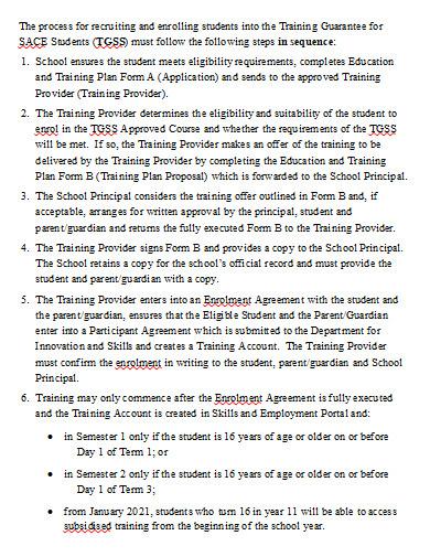 student training plan in doc