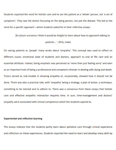 students clinical reflective essay