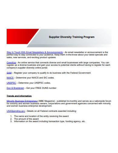 supplier diversity training program