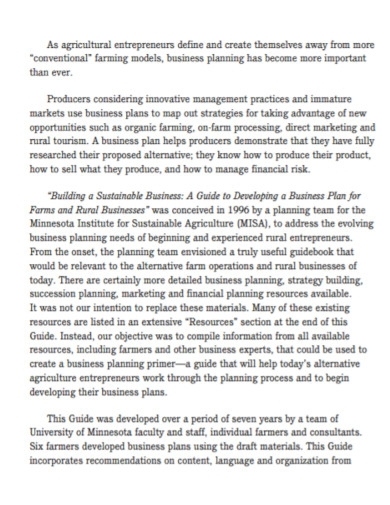 sustainable agriculture farm business plan