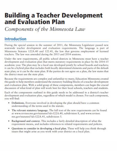 teachers development evaluation plan