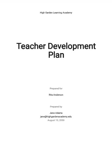 teachers development plan template