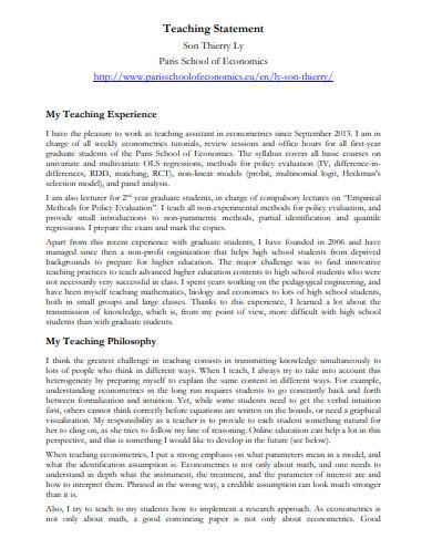 teaching statement online format