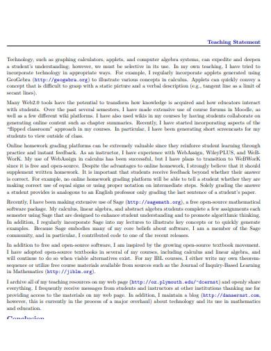 teaching statement online template