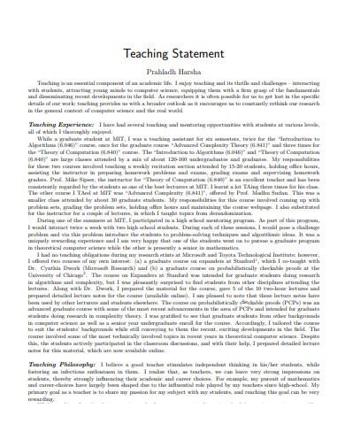 teaching statement online in pdf