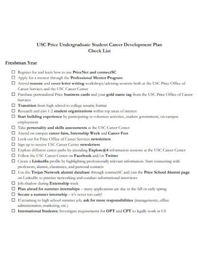 undergraduate student career development plan