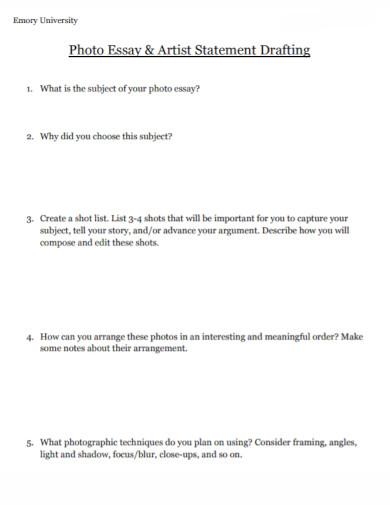 university artist statement worksheet