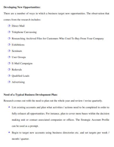 university business development plan