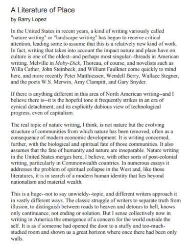 university literature essay