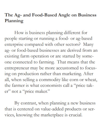 value added agriculture business plan