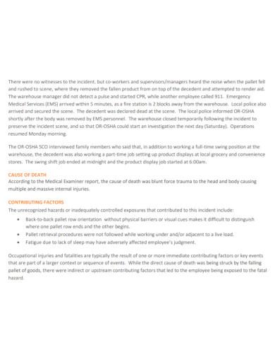 warehouse forklift operator incident report