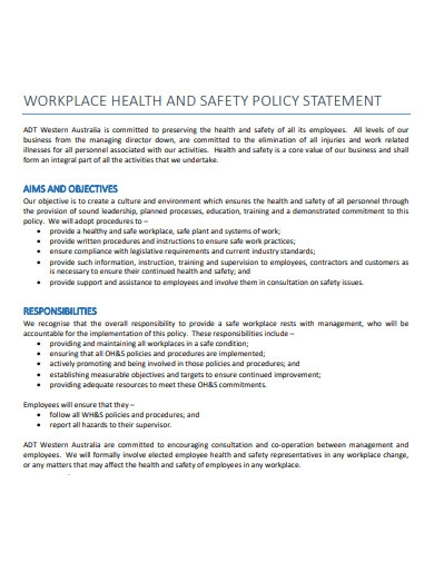 workplace health and safety policy statement