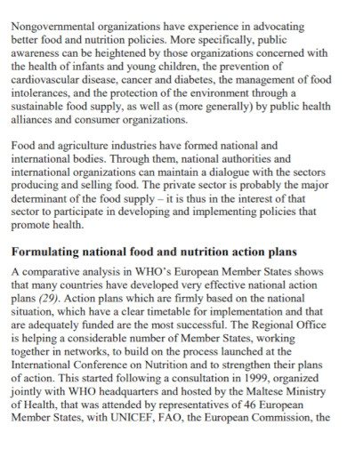 action plan for food and nutrition policy