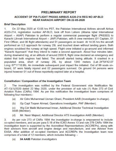 aircraft preliminary investigation report