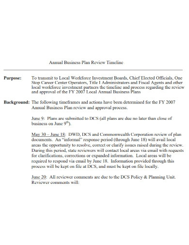 annual timeline business plan