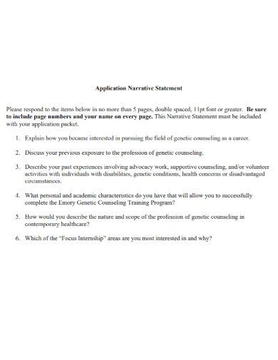 application narrative statement
