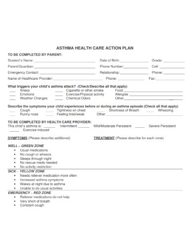 asthma health care action plan