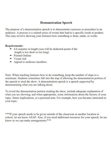 audience demonstration speech