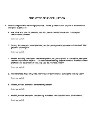 basic employee self evaluation