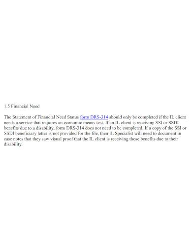 basic financial need statement
