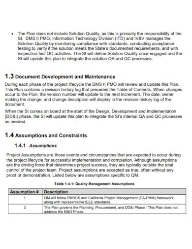 basic project quality management plan