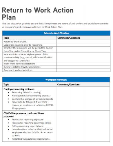 basic return to work action plan