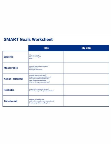 basic smart goals worksheet