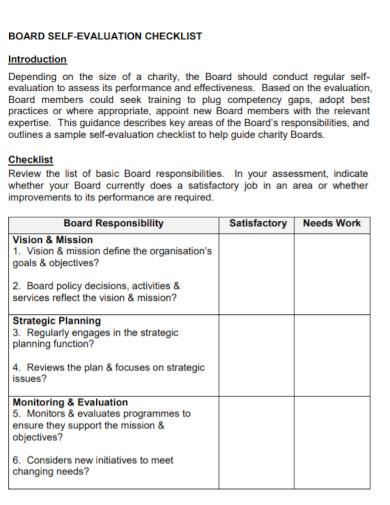 board self evaluation checklist