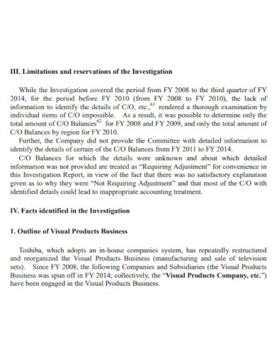 business committee investigation report