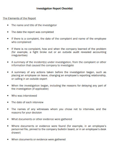 business investigation report checklist