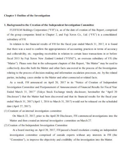 business investigation summary report