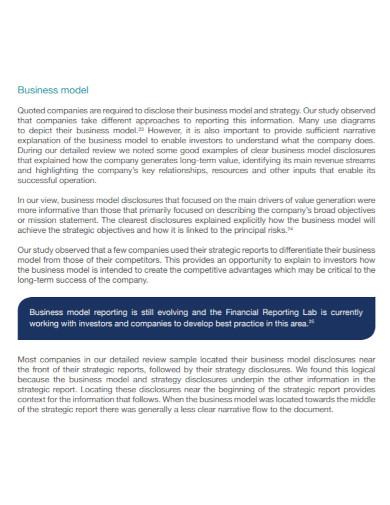 business narrative financial report