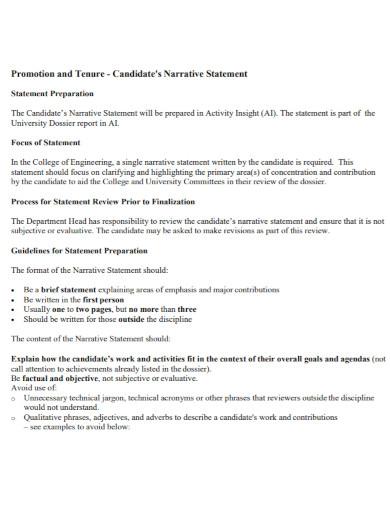 candidates narrative statement