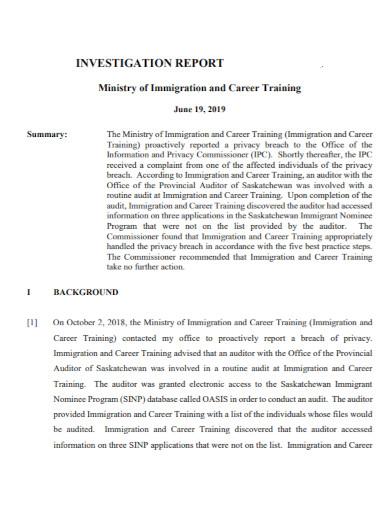 career training investigation report