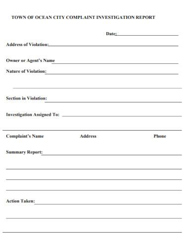 city complaint investigation report