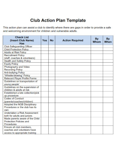 club action plan template