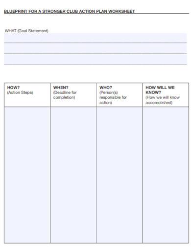 club action plan worksheet