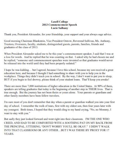 college commencement speech template