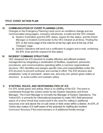 communication event action plan