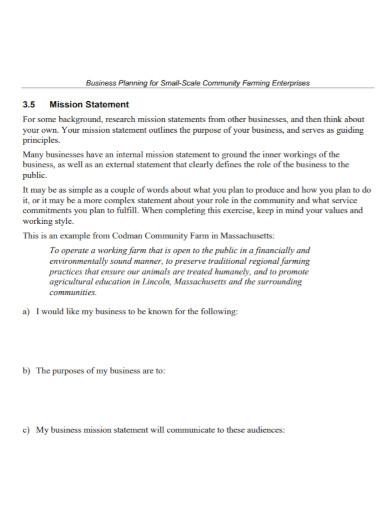 community small farm business plan