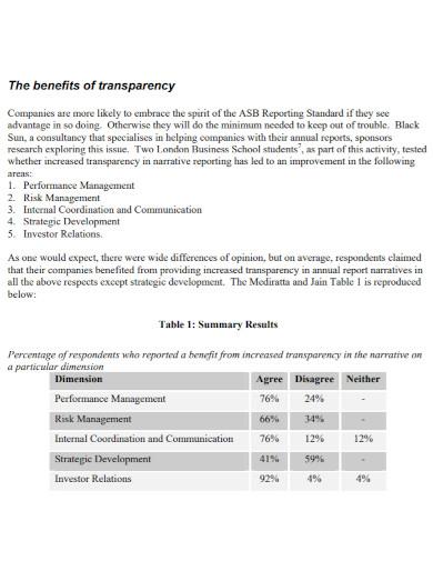 company business narrative report
