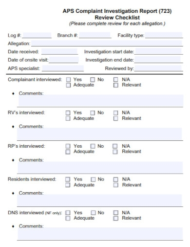complaint investigation report checklist