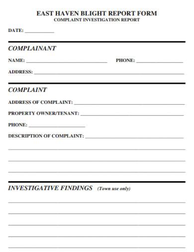 complaint investigation report form